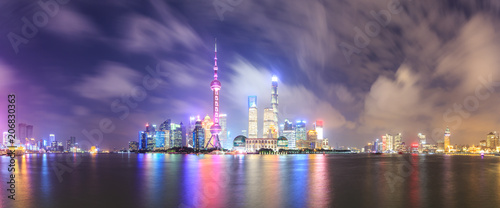 Tuinposter Shanghai Beautiful Shanghai skyline at night,modern urban background