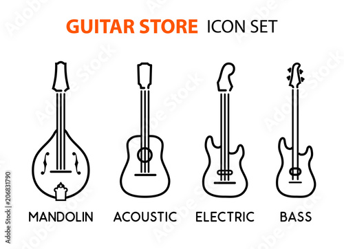 Fototapeta Icon set of acoustic, electric guitars and mandolin in line art style