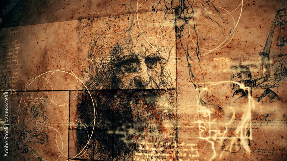Fototapety, obrazy: Code Da Vinci Classic Retro Illustration
