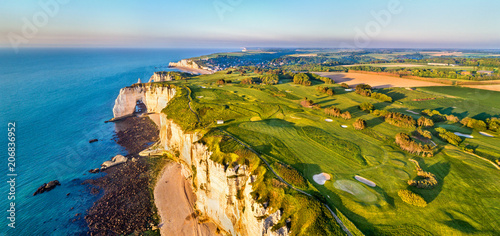 Aerial panorama of chalk cliffs at Etretat - Normandy, France Canvas Print