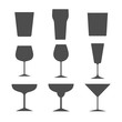Set of different alcohol glasses. Symbols and icons. Flat design, vector illustration.