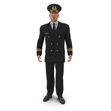 Airline Pilot On White. Front View. 3D Illustration
