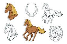 Set Of Horses. Hand Drawn Horse. Sketch Of Horse Head. Vector Artwork.