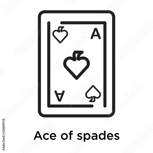 Ace of spades icon vector sign and symbol isolated on white background Wallpaper Mural