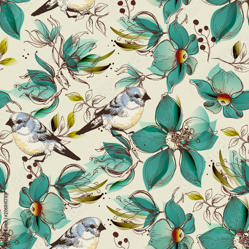 Photo Retro seamless pattern, cute flowers and birds print