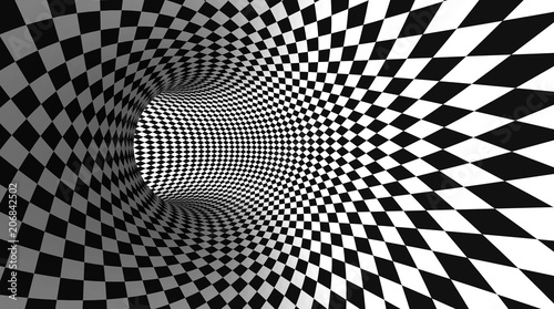 Fotografía Vector optical illusion black and white twisted checker abstract background