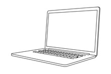 Hand Drawing Of A Laptop. Perspective View.