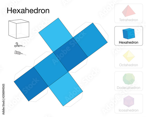 Hexahedron platonic solid template. Paper model of a cube, one of ...