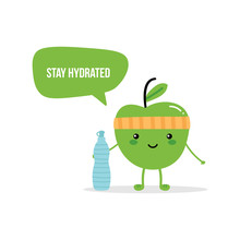 Cute Fitness Green Apple Chara...