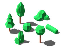 Isometric Low Poly Trees And B...