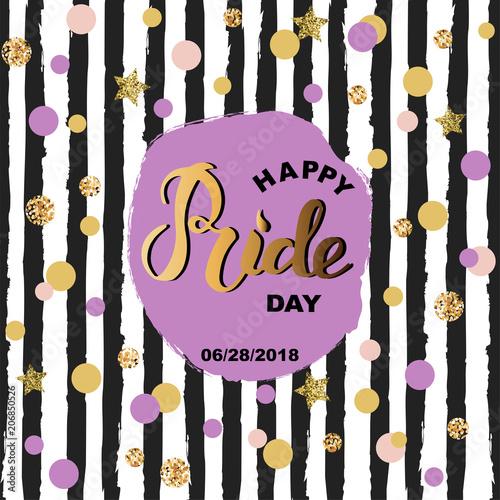 happy pride day text pride handwritten lettering as logo badge