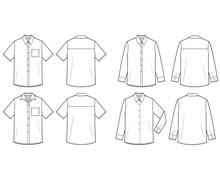 Shirt Set Fashion Flat Technical Drawing Template
