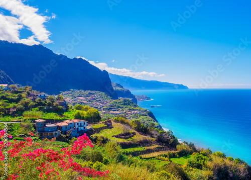 In de dag Eiland Panorama of Madeira island, Portuguese archipelag. Ponta de Sao Jorge on the ocean coast