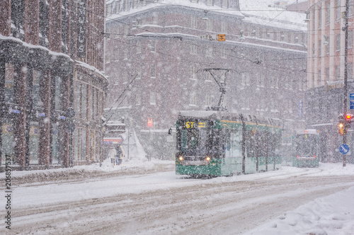 Photo Stands New York Blizzard in Helsinki