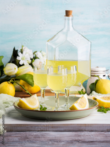 Home made limoncello served in stemmed glasses. Summer still life