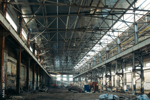 Foto op Canvas Industrial geb. Large empty industrial hangar or storage warehouse interior