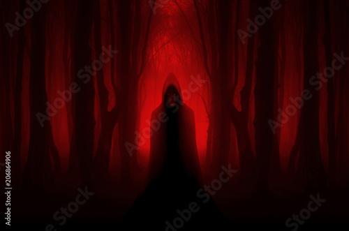 Fotografie, Obraz  scary ghostly figure in haunted forest, halloween nightmare scene