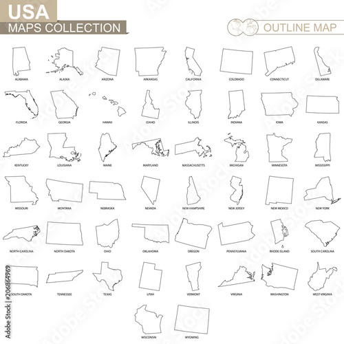 Fotografering  Outline maps of USA states collection.