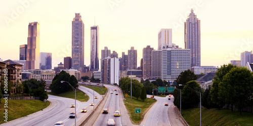 Plakat Atlanta linia horyzontu przy zmierzchem, Gruzja usa