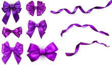 Purple Realistic Satin Bows An...