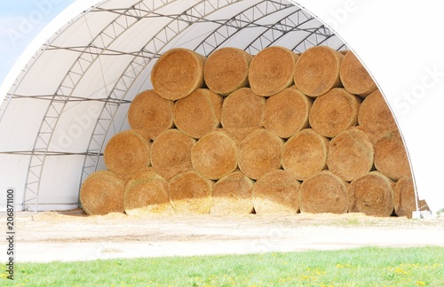Photo  Round Bales in Quonset