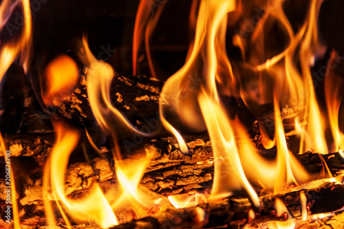 Foto op Canvas Vuur Burning billets in hot stove
