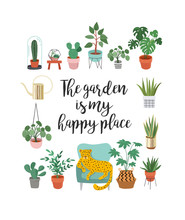 Trendy Print With Home Decor With Plants, Planters, Cacti And Inspirational Quote. Gardening Concept Design