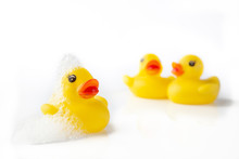 3 Yellow Rubber Ducks With Soa...