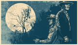 Poster with heroes of westerns and silhouette dry tree, two crows and full moon. linocut style. vector illustration - 206882170