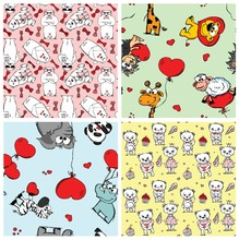 Set Of 4 Cute Valentine's Seamless Patterns With Doodle Bear, Elephant, Lion, Zebra, Sheep And Hearts