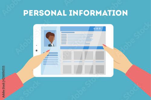Cuadros en Lienzo Personal information concept.
