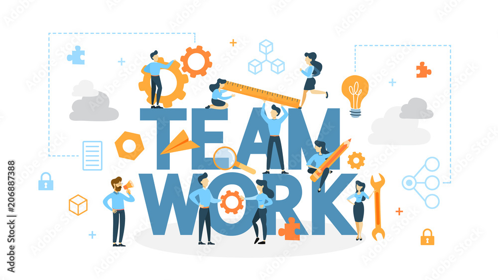 Fototapeta Teamwork concept illustration.
