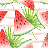 seamless watercolor drawing of a slice of red watermelon against a background of pink stripes and palm leaves - 206896373