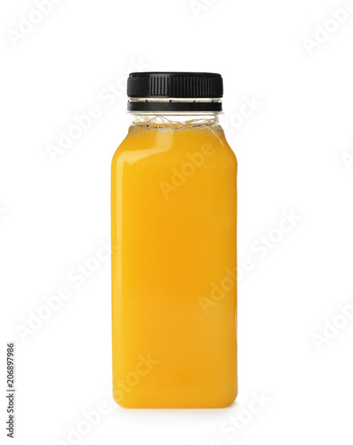 Bottle with fresh juice on white background