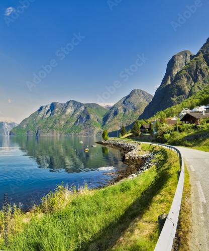 Fotobehang Pistache Summerday in Aurland, Sogn og Fjordane, Norway