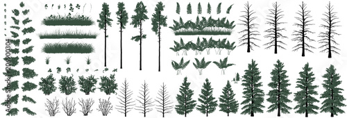 Large set of realistic natural objects: trees, bushes, herbs and grass - 206900304