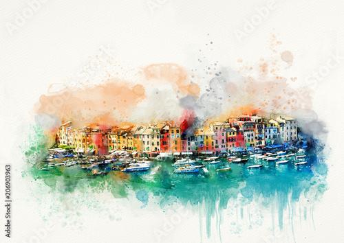 Italy, Portofino. Watercolor travel card Canvas Print