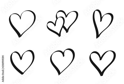 Fotografie, Obraz  Set of hand drawn hearts - stock vector.