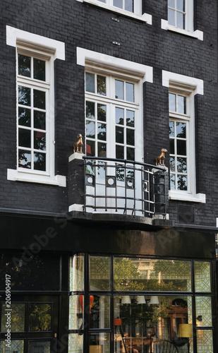 Plakat Fragment starego domu w Amsterdamie. Holandia