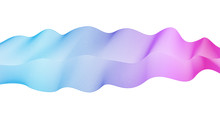 Flowing Wave Element On White Background. Vector Abstract Glowing Wavy Pattern Blue, Violet, Pink. Shiny Waving Lines. Line Art Elegant Design. Colorful Waves, Ribbon Imitation. EPS10 Illustration