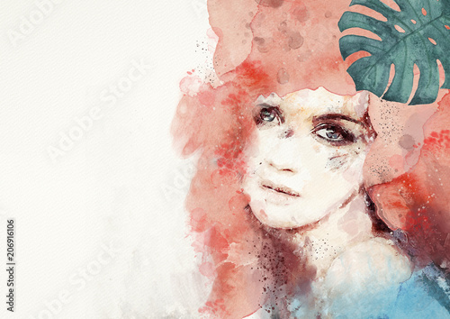 Watercolor abstract portrait of woman. Background