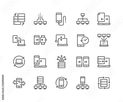 Fotomural  Simple Set of Data Exchange Related Vector Line Icons