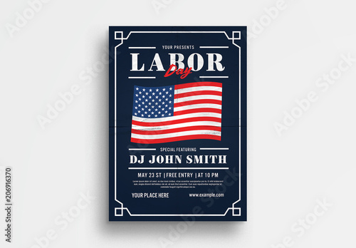 labor day flyer layout with american flag illustration