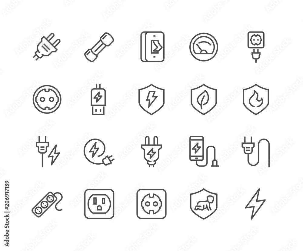 Fototapety, obrazy: Simple Set of Surge Protector Related Vector Line Icons. Contains such Icons as American European Socket, USB Charge, Child Protection and more. Editable Stroke. 48x48 Pixel Perfect.