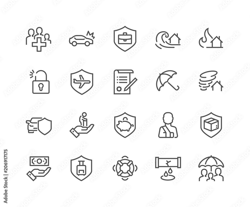 Fototapety, obrazy: Simple Set of Insurance Related Vector Line Icons. Contains such Icons as Car Protection, Health Insurance, Contract and more. Editable Stroke. 48x48 Pixel Perfect.