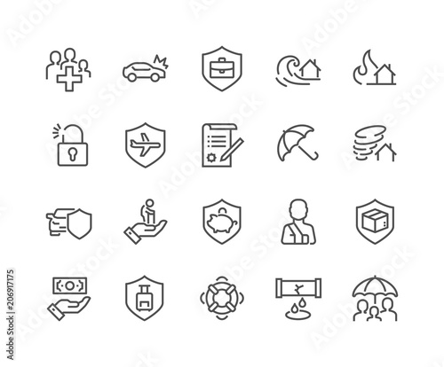 Fotografia  Simple Set of Insurance Related Vector Line Icons