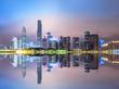 Guangzhou,China modern city skyline panorama on the zhujiang river at night