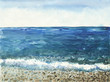 Ocean landscape. Beautiful watercolor hand painting illustration.