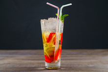 Refreshing Cocktail With Kiwi And Strawberry, Cold Iced Drink. Summer Delightful Beverage, Party, Bar Concept