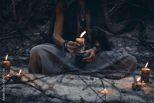 Fotografie, Obraz  woman hands holding candle close up